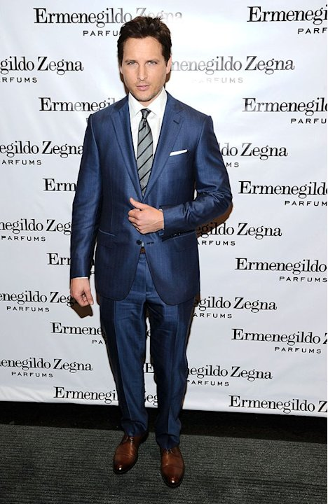 "Shiny suits don't typically sit well with us, but, on this occasion, we're totally feeling the navy Zegna getup worn by ""Twilight"" alum Peter Facinelli to the designer's boutique opening earlier this"