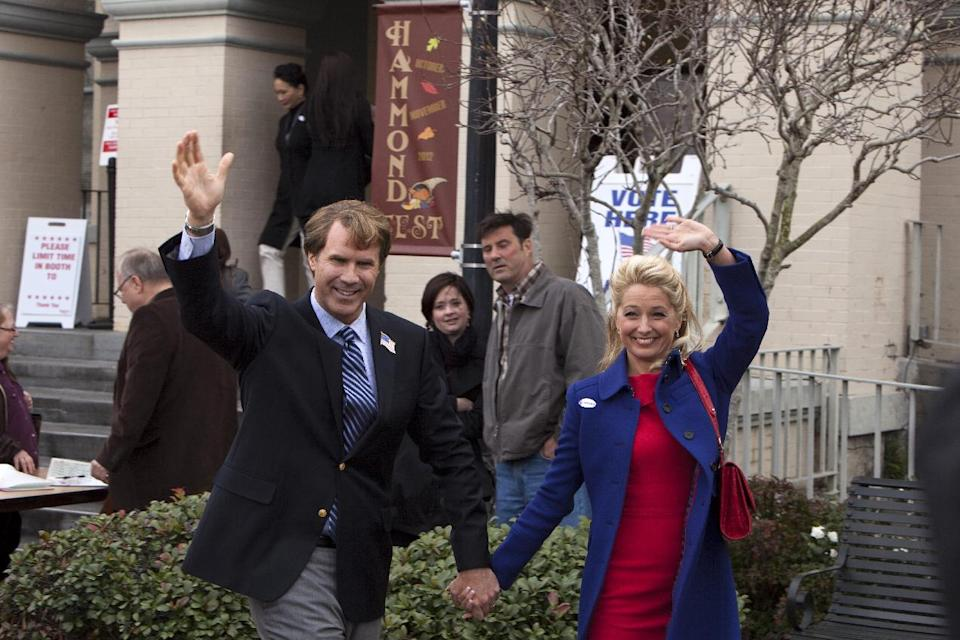 "This film image released by Warner Bros. shows Will Ferrell as Cam Brady, left, and Katherine LaNasa as Rose Brady in a scene from ""The Campaign."" (AP Photo/Warner Bros., Patti Perret)"