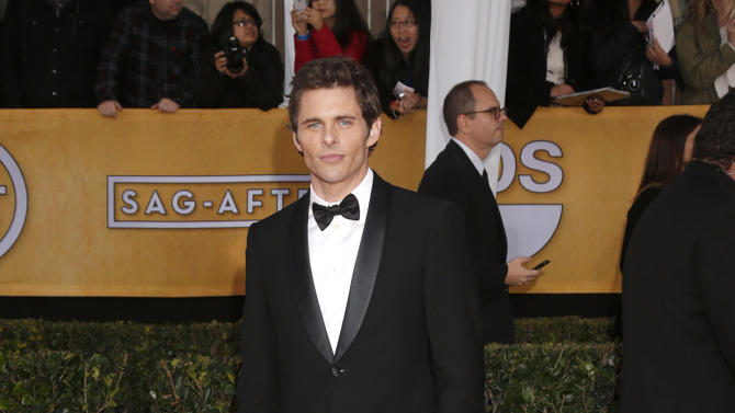 James Marsden arrives at the 19th Annual Screen Actors Guild Awards at the Shrine Auditorium in Los Angeles on Sunday Jan. 27, 2013. (Photo by Todd Williamson/Invision for The Hollywood Reporter/AP Images)