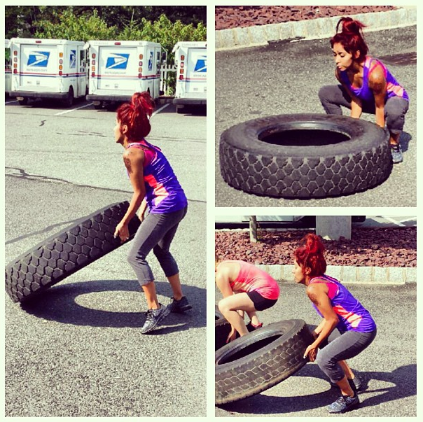 Snooki tire work out