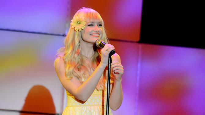 Actress Beth Behrs performs at the 21st Annual 'A Night at Sardi's' to benefit the Alzheimer's Association at the Beverly Hilton Hotel on Wednesday, March 20, 2013 in Beverly Hills, Calif. (Photo by Jordan Strauss/Invision for Alzheimer's Association/AP Images)