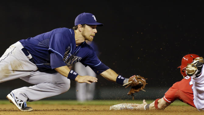 Tampa Bay Rays shortstop Ben Zobrist (18) cannot get the tag as Texas Rangers' Craig Gentry steals second base during the seventh inning of a baseball game, Monday, April 8, 2013, in Arlington, Texas. The Rangers won 5-4. (AP Photo/LM Otero)