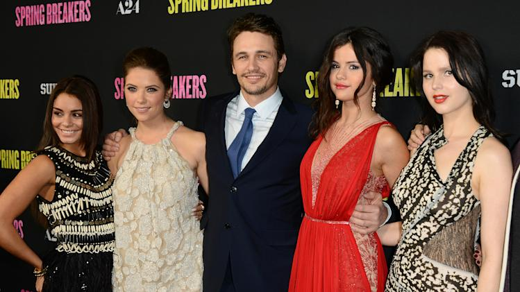 "From left, actors Vanessa Hudgens, Ashley Benson, James Franco, Selena Gomez, and Rachel Korine arrive at the LA premiere of ""Spring Breakers"" at the ArcLight Hollywood on Thursday, March 14, 2013 in Los Angeles. (Photo by Jordan Strauss/Invision/AP)"