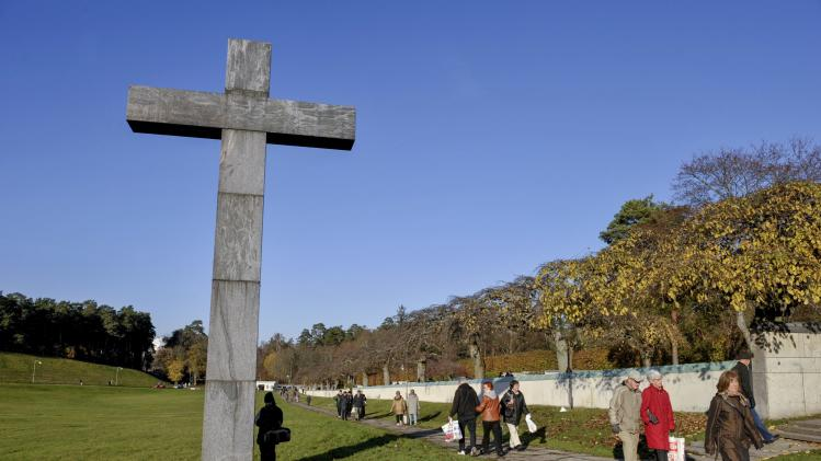 This is a Nov. 1, 2008 file photo of the Skogskyrkogarden, a woodland cemetery on the southern edge of Stockholm. It was created between 1917 and 1920 and became a UNESCO World Heritage site in 1994. (AP Photo/Jessica Gow, File) SWEDEN OUT
