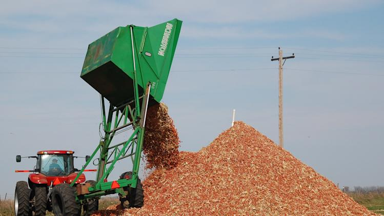 FILE - In this Oct. 30, 2007 file photo, a dump wagon adds freshly gathered corn cobs to a pile on a farm near Hurley, S.D. After decades of talk, the ethanol industry is building multimillion dollar refineries in several states that will use corn plant residue, wood scraps and even garbage to produce the fuel additive. (AP Photo/Dirk Lammers, File)