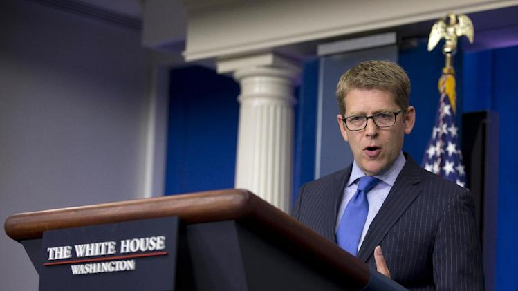 White House Press Secretary Jay Carney speaks during the daily news briefing at the White House in Washignton, Monday, July 8, 2013. The overthrow of Egypt's Islamist president, and National Security Agency leaker Edward Snowden, were among the topics Carney discussed. (AP Photo/Carolyn Kaster)