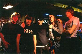 Sam Huntington , Edward Furlong , Director Adam Rifkin, James De Bello and Giuseppe Andrews on the set of Detroit Rock City