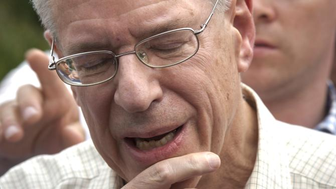 Rail World Inc. president Edward Burkhardt speaks to the media as he tours Lac-Megantic, Quebec, on Wednesday, July 10, 2013. A Rail World train crashed into the town killing at least 15 people. Burkhardt blamed the accident on an employee who he said had failed to properly set the brakes. (AP Photo/The Canadian Press, Paul Chiasson)