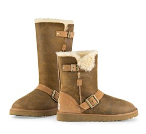 This undated image provided by Ugg, shows a Dylyn Tall and Short Ugg boot in Chestnut Bomber. (AP Photo/Ugg)