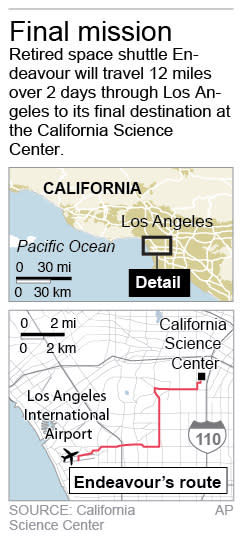Map shows transport route of the Space Shuttle Endeavor from Los Angeles International Airport to the California Science Center.