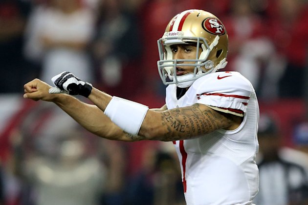 ATLANTA, GA - JANUARY 20: Quarterback Colin Kaepernick #7 of the San Francisco 49ers calls out from under center in the first quarter against the Atlanta Falcons in the NFC Championship game at the Ge