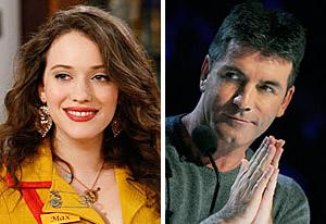 Kat Dennings, Simon Cowell | Photo Credits: Sonja Flemming/CBS; Ray Mickshaw / FOX