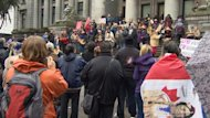 Hundreds came to listen to Idle No More movement leaders outside the Vancouver Art Gallery Sunday.