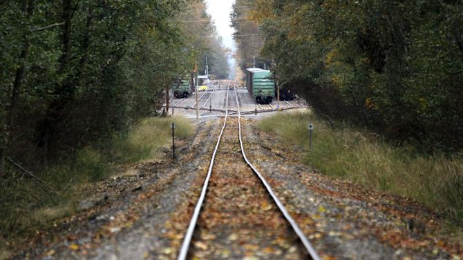 In this photo taken Oct. 23, 2012, train tracks run through a wooded area near the site of a proposed coal exporting terminal Tuesday, Oct. 23, 2012, in Ferndale, Wash., near Bellingham, Wash. The progressive college town of Bellingham is at the center of one of the fiercest environmental debates in the region: should the Northwest become a hub for exporting U.S. coal to Asia? A proposal to build one of as many as five coal terminals here has divided the town, pitting union and businesses that welcome jobs against environmentalists who worry about coal dust and greenhouse gas emissions. A trade group is running TV ads touting the projects, while numerous cities such as Seattle and Portland are opposing coal trains through their communities. (AP Photo/Elaine Thompson)