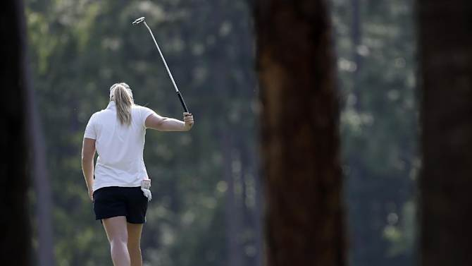 Brittany Lincicome reacts after missing a putt on the 16th hole during second round play in the Mobile Bay LPGA Classic golf tournament at the Robert Trent Jones Golf Trail at Magnolia Grove in Mobile, Ala. Friday, May 17, 2013. (AP Photo/Dave Martin)