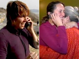 Canon Purdy tells her sister Megan (with their mom) she's safe, after Japan's devastating tsunami. (Courtesy of TodayShow.com)