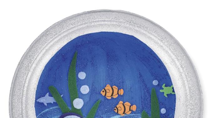 In this undated image released by Michaels, an aquarium porthole with paint and sea creatures cut out of felt and foam is shown. As spring break nears and the days get longer, many parents are searching for meaningful ways to keep children occupied. (AP Photo/Michaels)