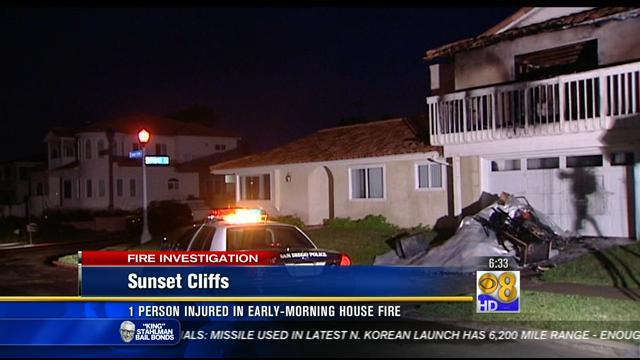 1 injured in Sunset Cliffs house fire