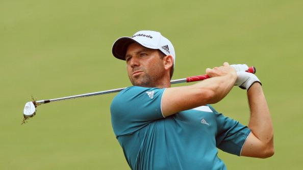 Sergio Garcia of Spain hits his second shot on the 17th hole during the final round of the Wyndham Championship at Sedgefield Country Club on August 20, 2012 in Greensboro, North Carolina. (Photo by Hunter Martin/Getty Images)