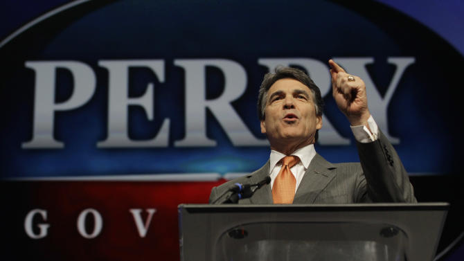 "FILE - In this June 7, 2012 photo, Texas Gov. Rick Perry speaks during the Texas Republican Convention in Fort Worth, Texas.  For Perry, saying ""no"" to the federal health care law could also mean turning away coverage for up to 1.3 million people. (AP Photo/LM Otero, File)"