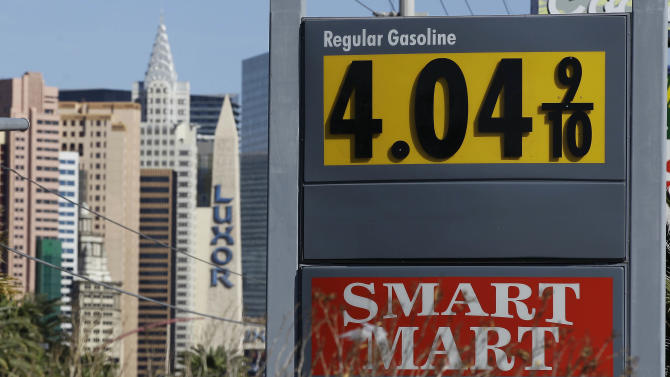 Gasoline prices of more than $4 are seen at a gas station on the south end of The Strip, Tuesday, March 20, 2012, in Las Vegas. From all corners of the country, Americans are irritated these days by record-high fuel prices that have soared above $4 a gallon in some states and could top $5 by summer.  (AP Photo/Julie Jacobson)