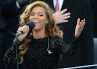 US singer Beyonce performs the National Anthem on January 21, 2013 in Washington, DC. Beyonce did not sing the US national anthem live at this week's public swearing-in ceremony of President Barack Obama for his second term, CNN quoted an inaugural official as saying Wednesday