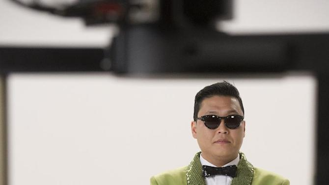 """This screenshot provided by Paramount Farms shows Psy filming  the Super Bowl advertisement for first-time advertiser Paramount Farms' Wonderful Pistachios brand of nut. The 30-second ad in the third quarter presents the company's """"Get Crackin'"""" campaign that stars the Korean pop sensation Psy. (AP Photo/Paramount Farms)"""