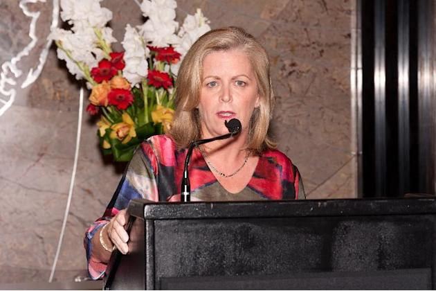 Women's Tennis Association Chair and CEO Stacey Allaster visits The Empire State Building on August 22, 2013 in New York City