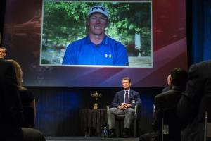 Ryder Cup team U.S. captain Tom Watson smiles as he announces that Hunter Mahan will be one of his three picks to add to this year's Ryder Cup squad in New York