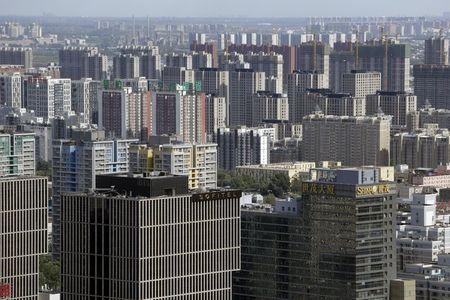 Apartment blocks and office buildings are pictured in Beijing