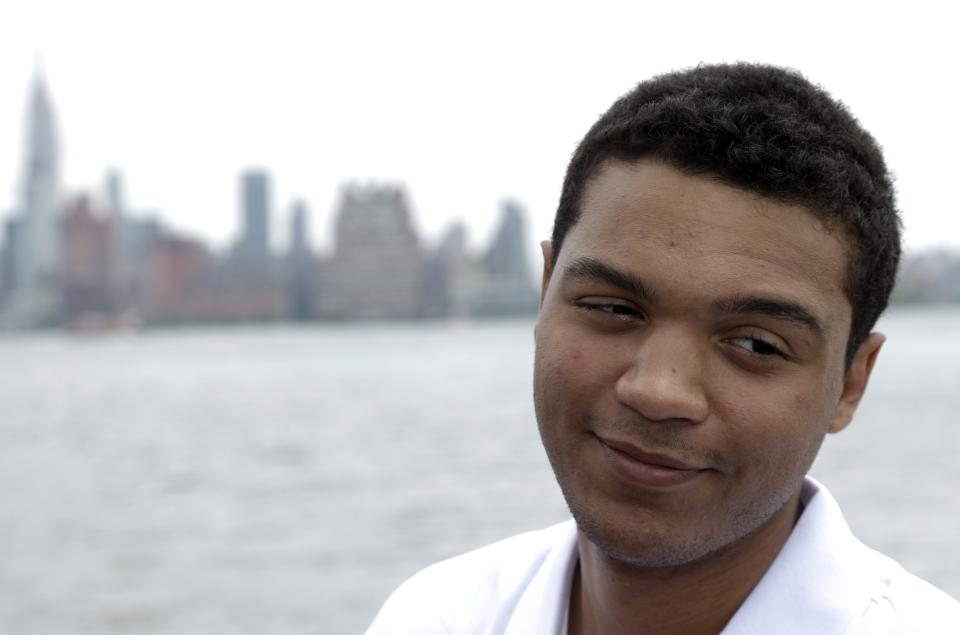 Defender Seth Jones talks during a news conference introducing the top prospects going into Sunday's NHL hockey draft, Friday, June 28, 2013, in Weehawken, N.J. The draft will be held June 29 at Prudential Center in Newark, N.J. (AP Photo/Julio Cortez)