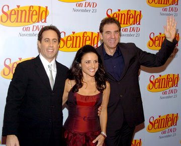 Jerry Seinfeld, Julia Louis-Dreyfus and Michael Richards