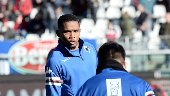 Sampdoria's Samuel Eto'o warms up before a Serie A soccer match between Torino and Sampdoria at the Olympic stadium, in Turin, Italy, Sunday, Feb. 1, 2015. (AP Photo/ Massimo Pinca)