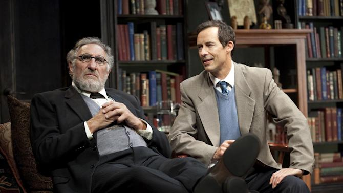 """This 2012 theater image released by Jim Randolph Media Relations shows Judd Hirsch as Sigmund Freud, left, and Tom Cavanagh as C. S. Lewis in Mark St. Germain's """"Freud's Last Session,"""" performing at The Broad Stage in New York. (AP Photo/Jim Randolph Media Relations, Carol Rosegg)"""