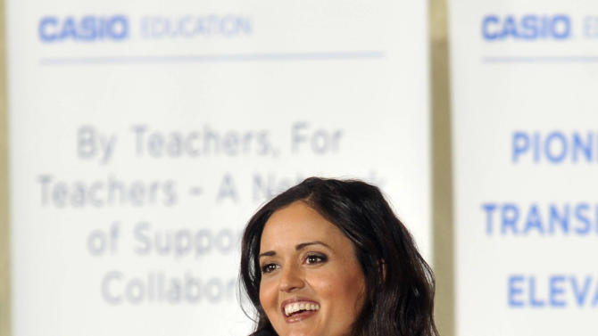 IMAGE DISTRIBUTED FOR CASIO - In this image released on Tuesday, April 23rd, 2013, Danica McKellar, 'Wonder Years' star and Casio advocate, delivered the keynote address at the National Council of Supervisors of Mathematics luncheon in Denver. (Photo by Jack Dempsey/Invision for Casio/AP Images)