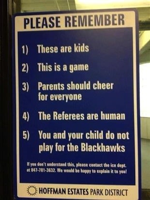 The parental guidelines sign at the Hoffman Estates rink — Twitter