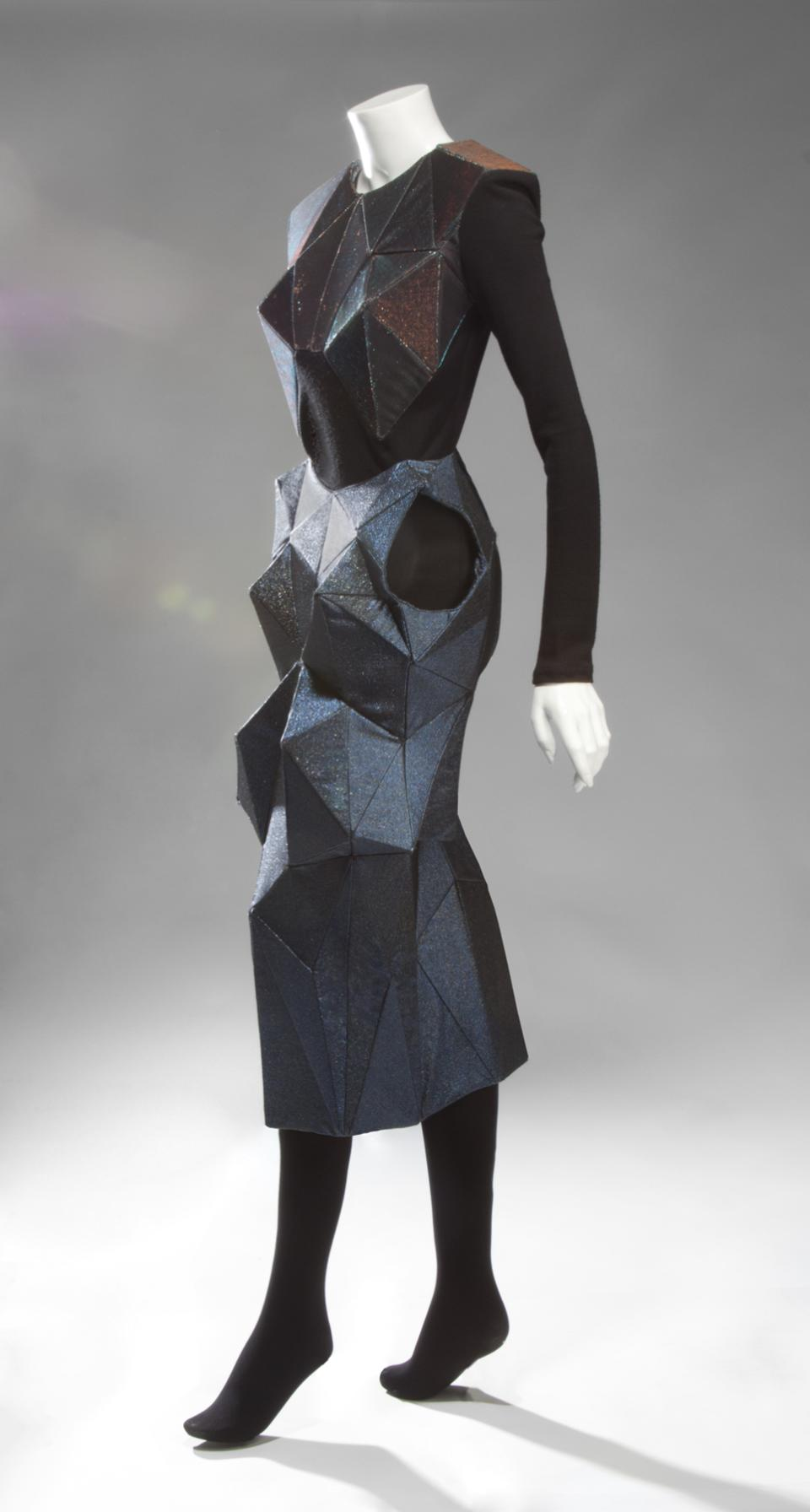 This undated image released by Julien's Auctions shows a Lady Gaga structured dress worn for the cover of Madame Figaro magazine in 2001. This item is part of a star studded auction that includes items from the worlds of Rock 'n Roll, Sports, the Royal family and political memorabilia.  (AP Photo/Julien's Auctions)