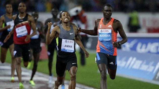 Ethiopia's Mohammed Aman (C) celebrates as he won the men's 800m race in front of David Rudisha of Kenya (R) during the Weltklasse Diamond League meeting in Zurich August 30, 2012 (Reuters)