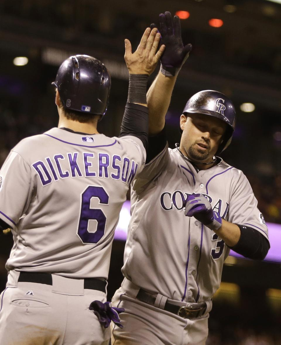 Cuddyer hits 2 HRs, Rockies rally past Giants 9-8