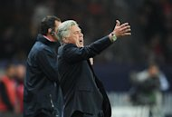 Paris Saint-Germain's head coach Carlo Ancelotti reacts at the end of the French L1 football match Paris vs Rennes, on May 13, 2012 at the Parc des Princes stadium in Paris. Paris won 3-0.  AFP PHOTO / FRANCK FIFE