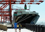 A cargo ship is docked at an international cargo terminal in Tokyo. Japan&#39;s current account surplus dropped 40.6 percent in July due to an expansion in its trade deficit, official data showed Monday
