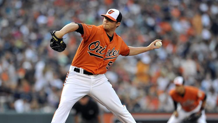 Baltimore Orioles starting pitcher Zach Britton delivers against the New York Yankees in the first inning of a baseball game, Saturday, June 29, 2013, in Baltimore. (AP Photo/Gail Burton)