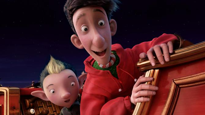 """In this film publicity image released by Sony Pictures, Bryony, voiced by Ashley Jensen, left, and Arthur, voiced by James McAvoy, are shown in a scene from """"Arthur Christmas."""" (AP Photo/Sony Pictures, Aardman Animations)"""