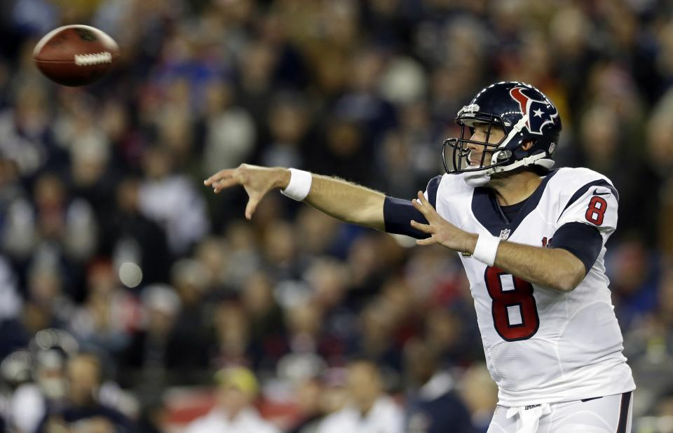 Houston Texans quarterback Matt Schaub passes during the first half of an AFC divisional playoff NFL football game against the New England Patriots in Foxborough, Mass., Sunday, Jan. 13, 2013. (AP Photo/Elise Amendola)