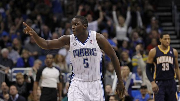 Orlando Magic shooting guard Victor Oladipo (5) reacts after he shoots a three pointer against the Indiana Pacers during the second half at Amway Center (Reuters)