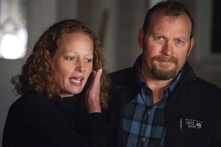 Nurse Kaci Hickox and her boyfriend Ted Wilbur address the media during an informal meeting with the news media outside their home in Fort Kent