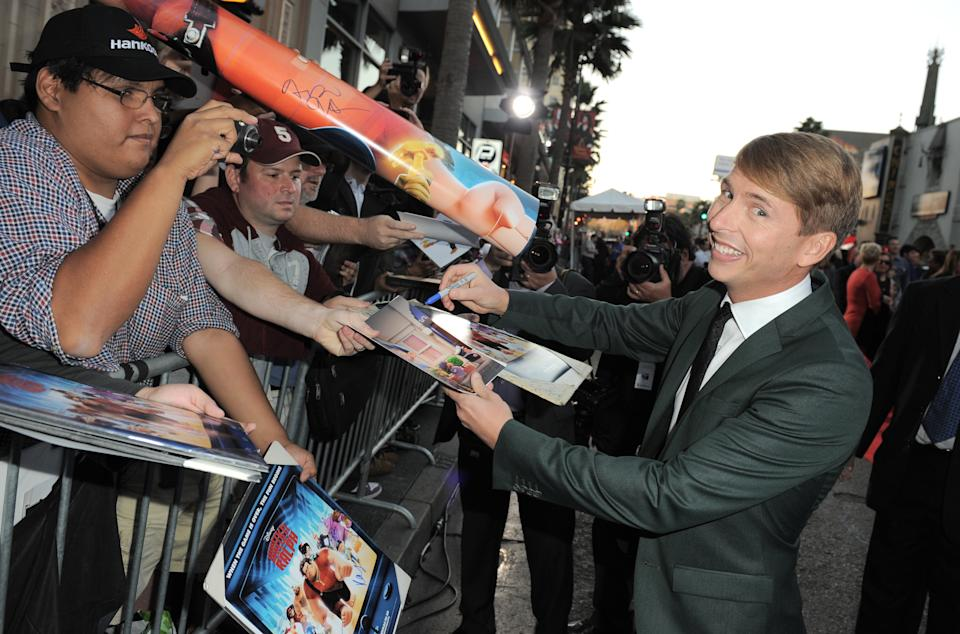 "FILE - In this Oct. 29, 2012 file photo, Jack McBrayer arrives at the world premiere of ""Wreck-It Ralph"" at El Capitan Theatre, in Los Angeles. McBrayer voices the character Fix-It Felix in the film that opened on Nov. 2. (Photo by Jordan Strauss/Invision/AP, File)"