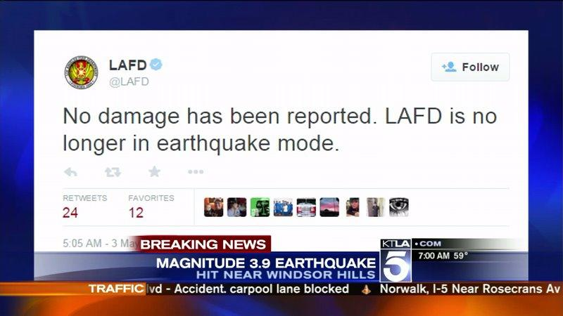 Magnitude-3.9 Earthquake Rattles South L.A.; No Injuries or Damage Reported