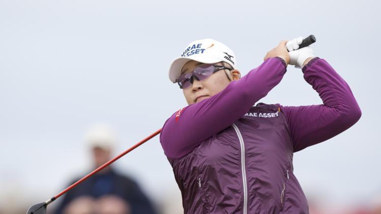 South Korea's Jiyai Shin drives off the fourth tee at the Women's British Open golf championships at Royal Liverpool Golf Club, Hoylake, England, Sunday Sept. 16, 2012.  (AP Photo/Jon Super)