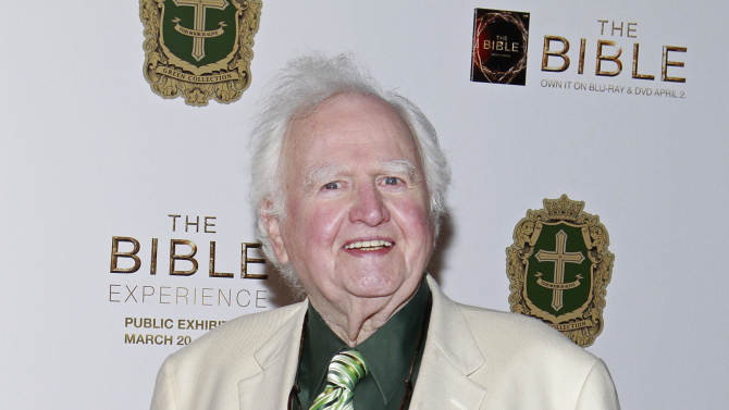 Actor Malachy McCourt pose on the red carpet at the celebration of the April 2 Blu-ray, DVD, and Digital HD release of THE BIBLE from Twentieth Century Fox Home Entertainment  during The Bible Experience opening night gala, a rare exhibit of biblical artifacts on Tuesday, March 19 in New York. (Photo by Mark Von Holden/Invision for Fox Home Entertainment/AP Images)